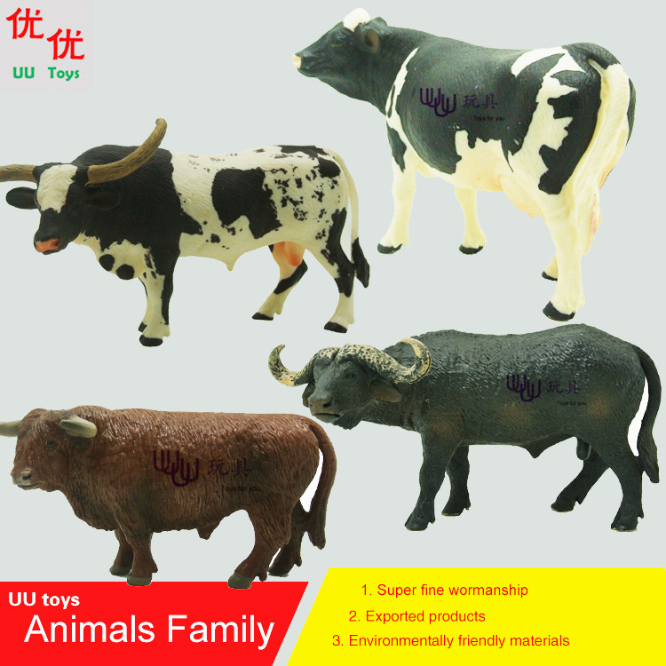 Hot toys: Buffalo, Brown Bull, Holstein Bull, Texas Longhorn Cow Simulation model  Animals  kids toys children educational props поло clique texas bull футболка поло