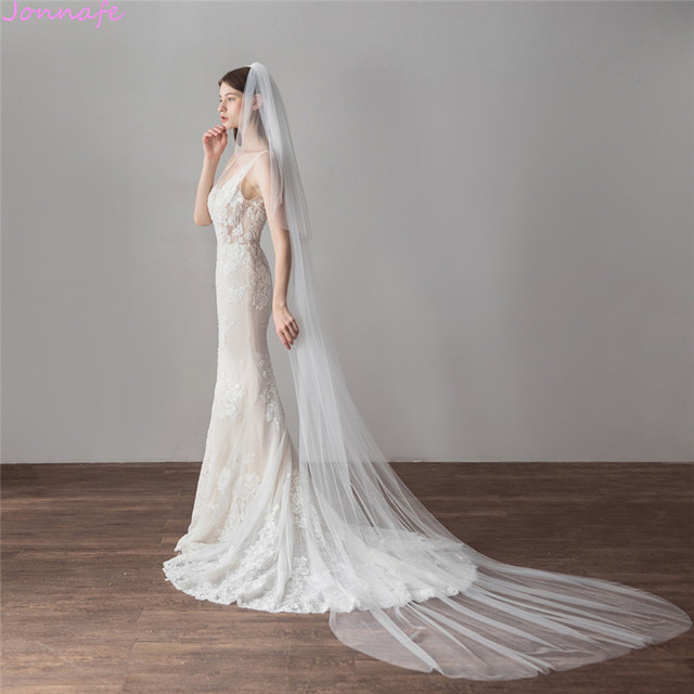 Jonnafe 3 Meter Cathedral Wedding Veils Long Ivory Tulle Bridal Veil With Comb Wedding Accessories