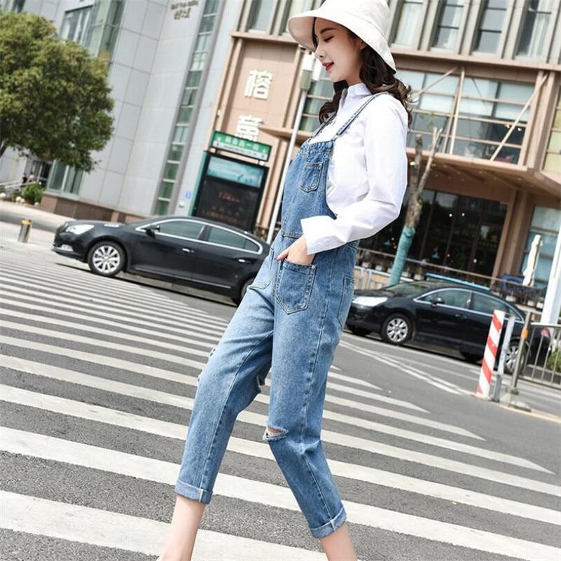 2019 new women Denim Jumpsuit fashion hole Streetwear Bodycon femme casual Suspender Pants jeans Overalls w568 17