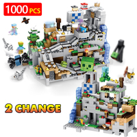 New Version Creator Technic Building Blocks Compatible LegoINGLYS Minecrafted Designer Mountain Cave Bricks Toys For Boys