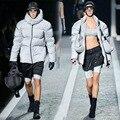 2016 otoño y el invierno Con Capucha 3 m fluorescente reflectante a prueba de viento de algodón acolchado chaqueta para los hombres y mujeres con algodón