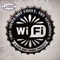 35cm Wifi Round Beer Bottle Cap Vintage Tin Signs Bar Rustic Wall Plaque Garage Restaurant Coffee Cafe Wall Stickers Decor