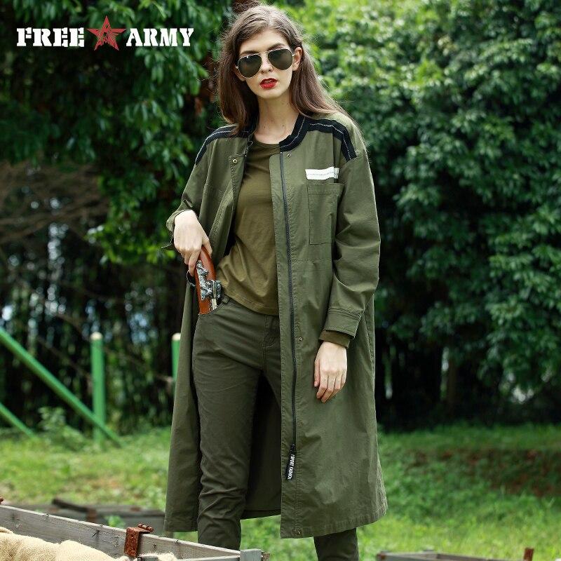FreeArmy Women Long   Trench   Coat Oversized Military Green Drawstring Waist Ladies Windbreaker Women's Coats Casual Female Outwear