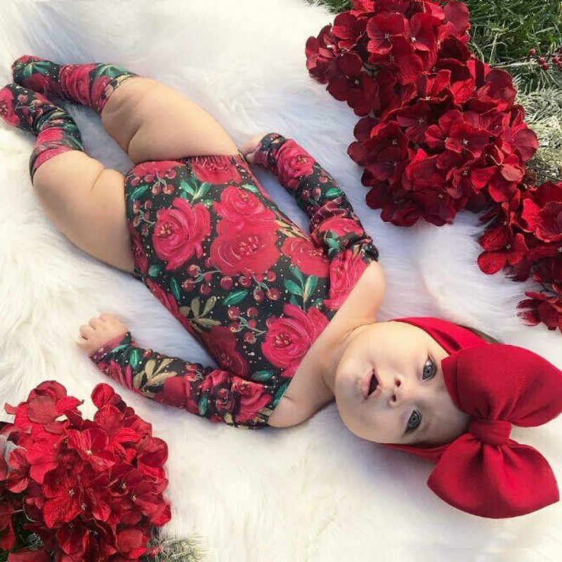 2019 New Infant Baby Girl Flower Bodysuit Jumpsuit+Socks+Headband 3Pcs Outfits Toddler Newborn Baby Girl Clothes Sets