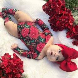 2020 novo bebê recém-nascido meninas flor bodysuit macacão + meias bandana 3 pçs conjuntos de roupas da criança do bebê da menina