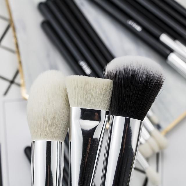 BEILI Black Complete Professional Foundation Powder Concealer Contour Natural goat hair Eyes Blending 30 pieces Makeup Brush set 5