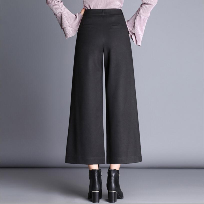 Y222 Casuales Ancha Moda 2019 Mujeres De Mujer Negro Otoño E Tamaño Lana Elegantes Plus camel Pantalones Las Pierna Invierno w66H7Aqa