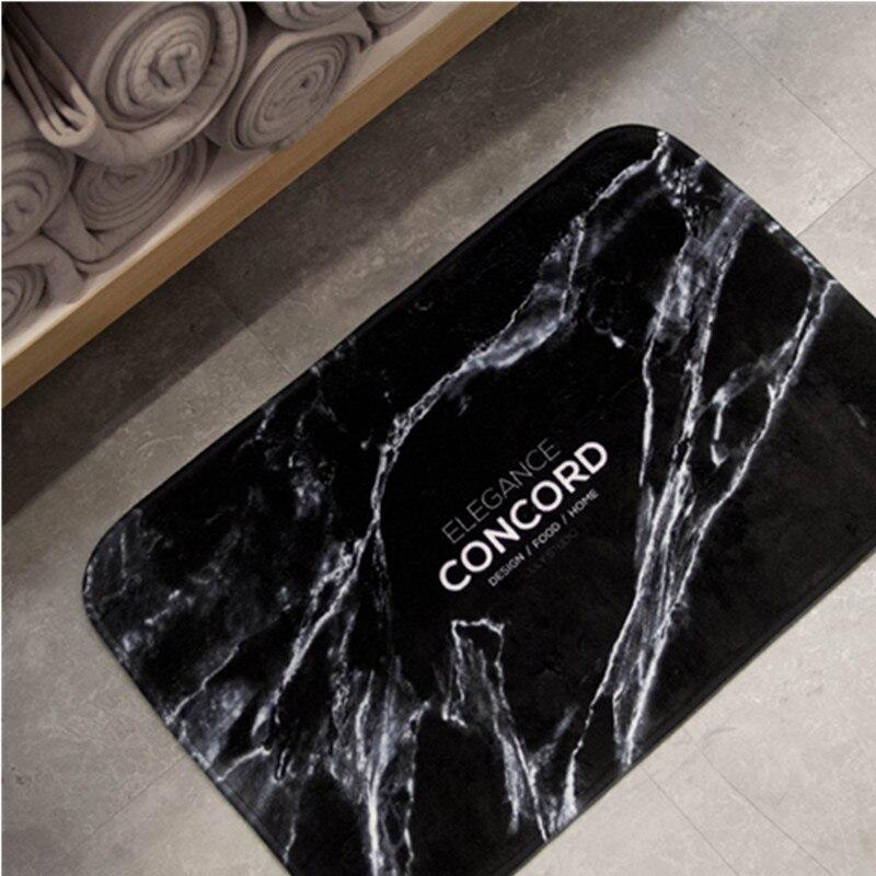 Marbre Grain tapis de sol paillasson drôle absorption d'eau flanelle porte tapis couverture douce cuisine porte tapis pour salle de bain salon - 3