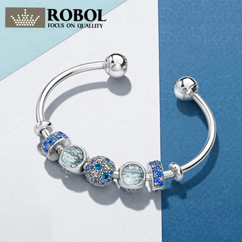 ROBOL Original 100% 925 Sterling Silver Moments 925 Silver Open Bracelet Set To Send woman Gift Adjustable Bracelet & Bangle