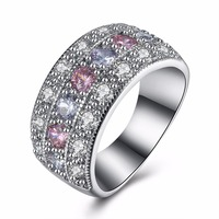 Anti Allergy 3 Rounds CZ Diamond Paved Engagement Rings Sets Rose Gold Plated Crystal Wedding Jewelry