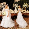 Boat Neck Lace Wedding Dress 2017 with Lace Applique Long Sleeve Tulle Bridal Gown Sheer Back Mermaid Vestido De Noiva