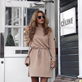 Khaki Plain Drawstring Long Sleeve Fashion Cotton Mini Dress Casual Womens Turtleneck Elastic Waist Loose Tunic