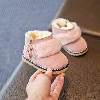 طفل أحذية الشتاء الثلوج أحذية الفتيات الشتاء حذاء طفل صغير القطن الأحذية حجر الراين أحذية بوت قصيرة
