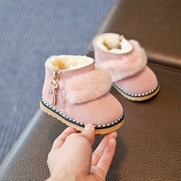 Baby Shoes Winter Snow Boots Girls Winter Toddler Shoes Cotton Boots Rhinestone Short Boots