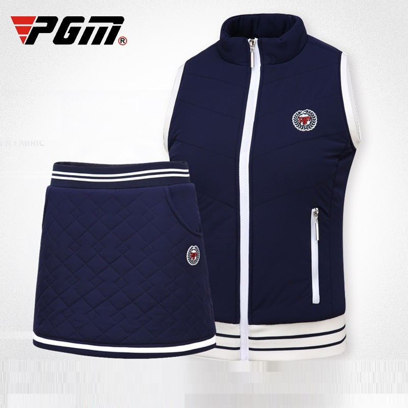 Pgm Golf Thicken Warm Clothes Suit Women Sleeveless Jacket Vest Set Velvet Shorts Skirt Lady Golf Tennis Fashion Wear D0492