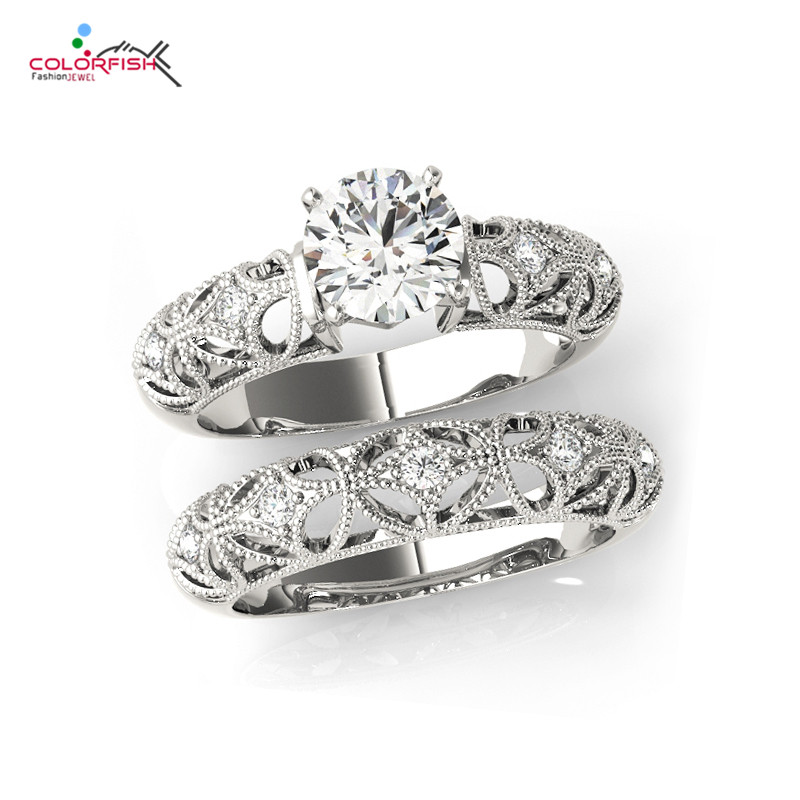 COLORFISH Jewelry Vintage Victorian Art Deco Wedding Engagement Ring Sets 925 Sterling Silver 0.75 Ct Round Cut For Women серьги art silver art silver ar004dwzmh30