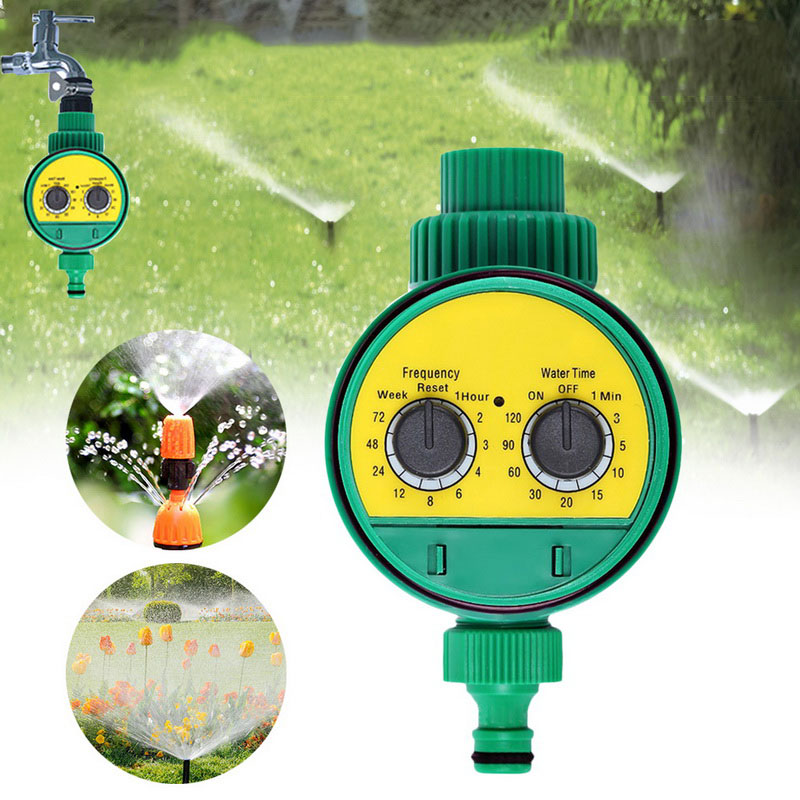 Garden Watering Timer  LCD Display Two Dial Automatic Electronic Watering Timer Outdoor Garden Irrigation Time Controller(China)