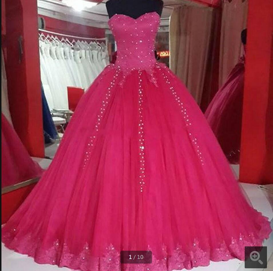 2017 new designer ball gown fuchsia lace appliques prom dress ...