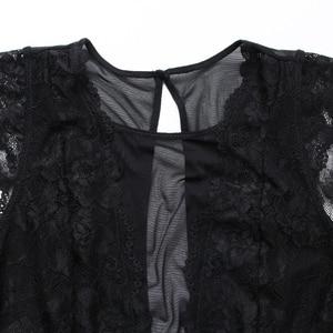 Image 4 - Lace Bodysuit Hollowout Back Women Lingerie Transparent Underwear Femme Bottom Closure Jumpsuits High Quality