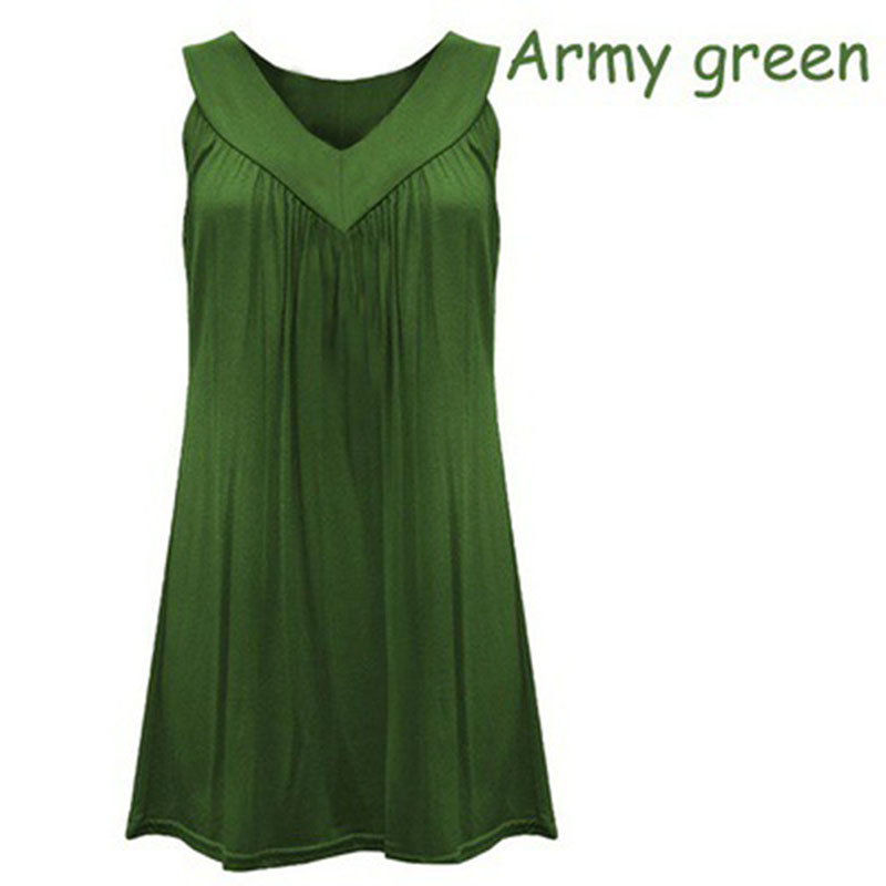 Summer Fashion Women 6XL Plus Size Solid Casual Sexy V Neck Cotton   Shirt   Ladies Sleeveless Pleated   Blouses     Shirt