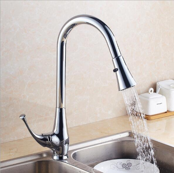 New design pull out kitchen faucet Chrome 360 degree swivel kitchen sink Faucet Mixer kitchen vanity faucet cozinha Water Tap good quality wholesale and retail chrome finished pull out spring kitchen faucet swivel spout vessel sink mixer tap lk 9907