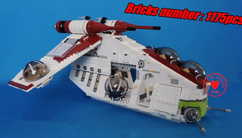 05041 lepin Star wars Republic Gunship model building bricks blocks diy Toys children Game Weapon Compatible 75021 kid gift set lepin 05035 star wars death star limited edition model building kit millenniums blocks puzzle compatible legoed 75159