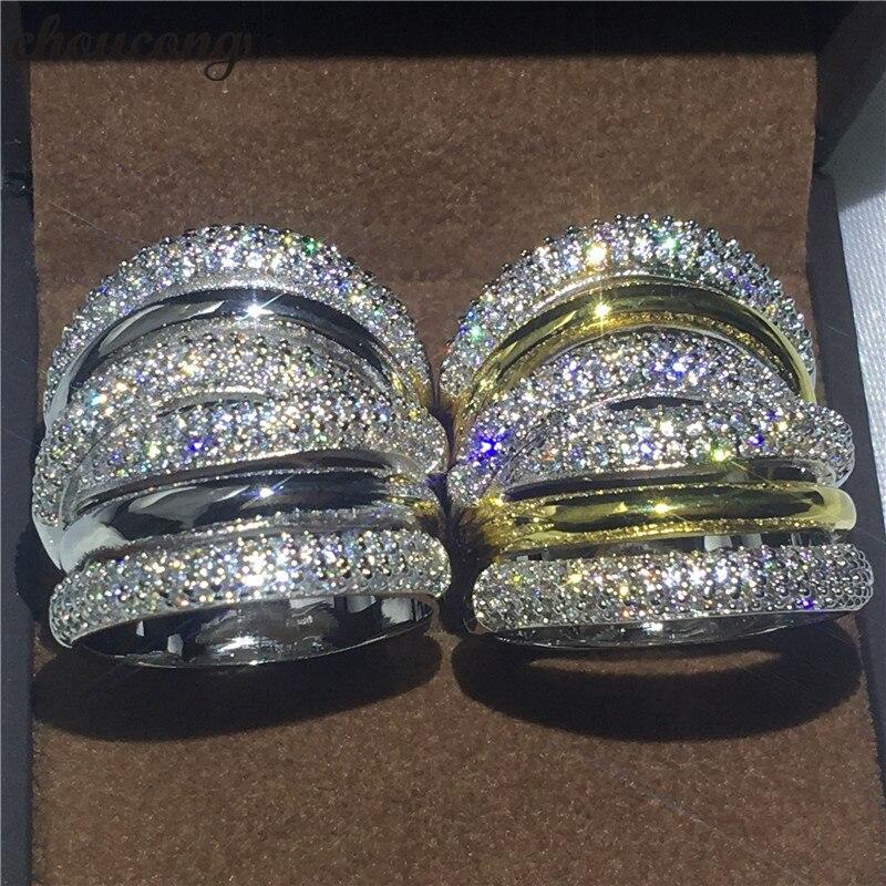Choucong De Luxe Grand anneau pavent 5A zircon Cristal Jaune or Blanc rempli Engagement Wedding Band Anneaux Pour Femmes hommes