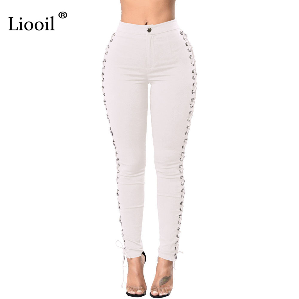 Liooil 2018 New Winter Sexy Woman Black Side Lace Up
