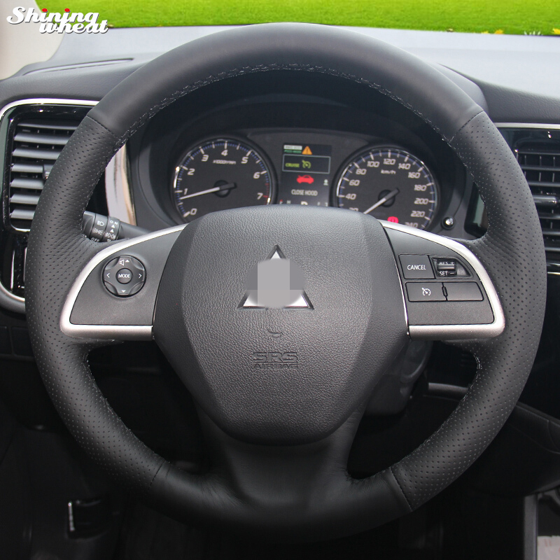 Shining wheat Hand-stitched Black Leather Steering Wheel Cover for Mitsubishi Outlander 2013 2014 Mirage 2014 ASX steering wheel cover for mitsubishi outlander 2013 2014 mirage 2014 asx l200 2015 2016 braid on the steering wheel