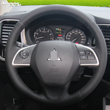 Shining wheat Hand stitched Black Leather Steering Wheel Cover for Mitsubishi Outlander 2013 2014 Mirage 2014