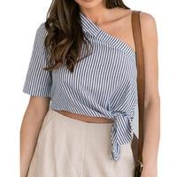 Fansu Apparel S-XL One Shoulder Stripped Blouse & Skirt Summer Crop Top Fashion Blouse