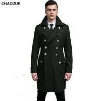 Chaojue Дизайн мужские пальто и куртки S-6XL негабаритных высокий и большой мужчины зеленый шерстяное пальто Германия армия темно-бушлат Бесплат...