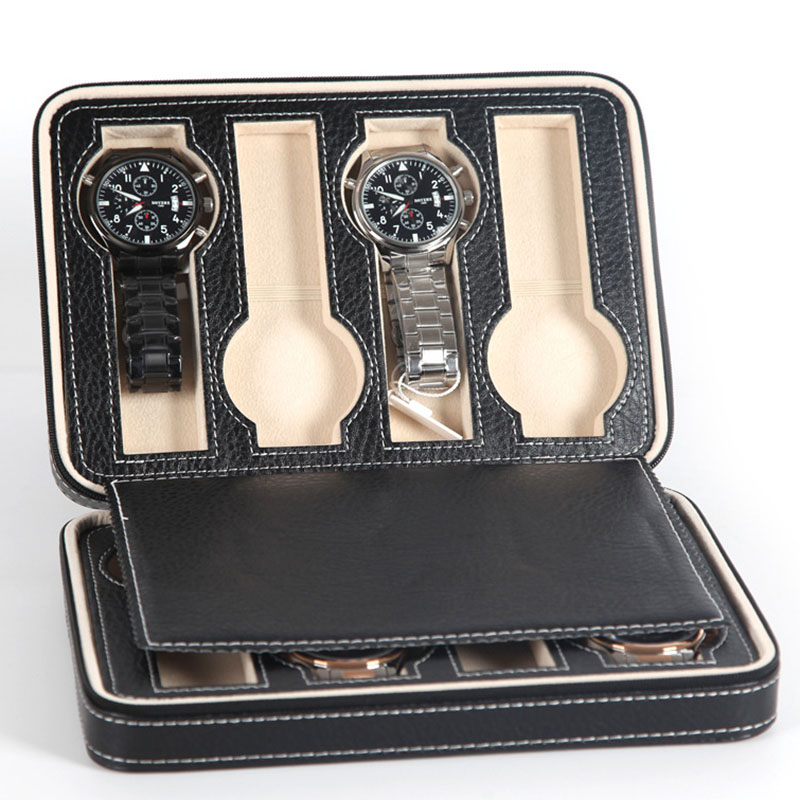 Portable 2/4/8 Grids Travel Watch Box PU Leather Zipper Storage Case Watch Organizer LXH