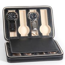 Przenośny 2 4 8 siatki zegarek podróży Box PU skórzany zamek futerał do przechowywania organizator zegarków LXH tanie tanio Ulzzang Pudełka do zegarków Moda casual 55cm Nowy bez tagów 151964 Prostokąt 8 5cm Skóra 18cm