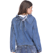 Broken Holes Denim Jackets for Women BF Wind A Bow on The Back Jeans Coat Girl Student Loose Coats Overcoat Plus Size