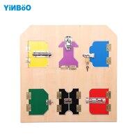 Baby Toys Montessori Wooden Lock Plate Learning Educational Preschool Training gift for children