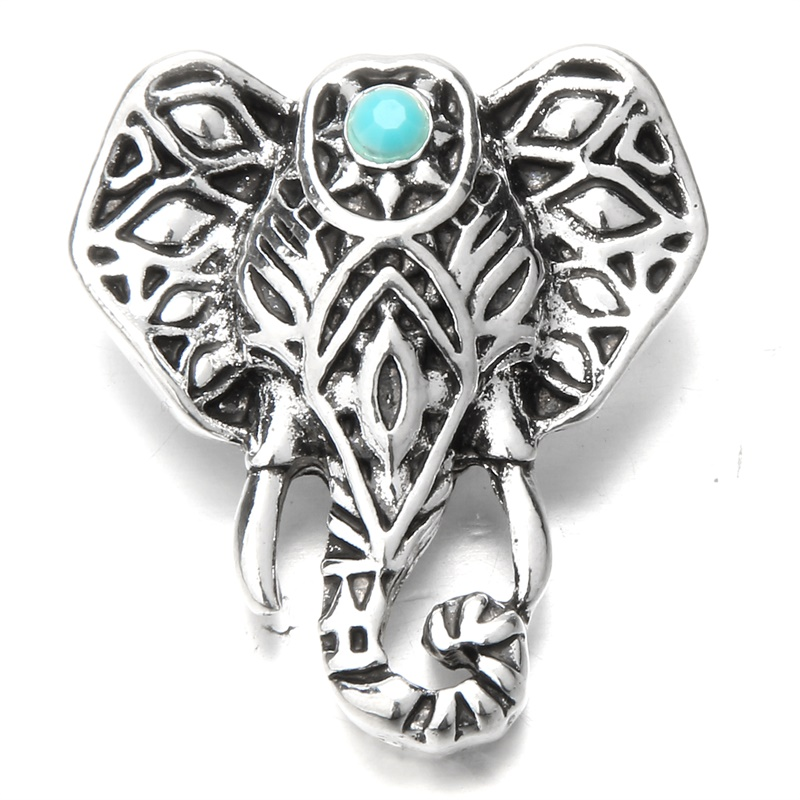 Large Animal Snap Jewelry Vintage Silver Elephant Snap Metal 18mm Snap Buttons DIY 18mm Snap Bracelets Necklace Findings