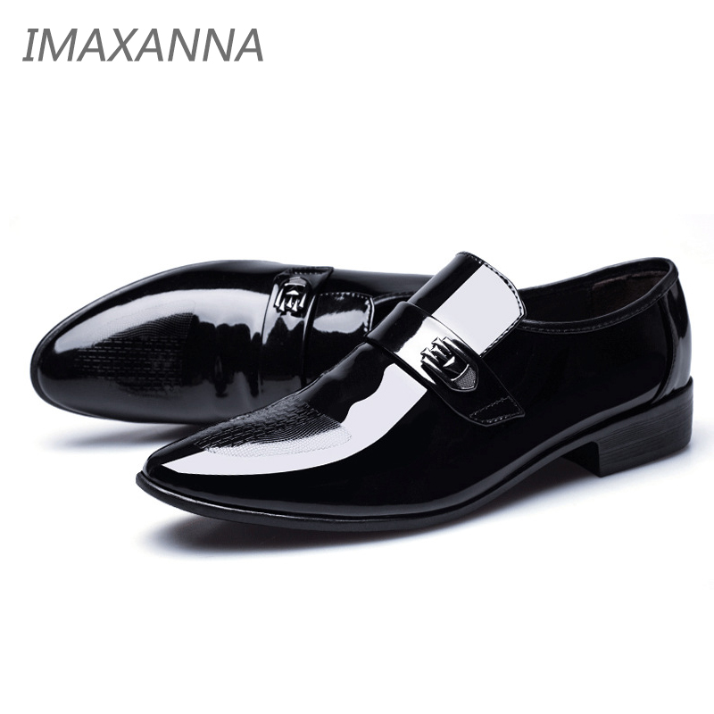 IMAXANNA Newly Mens Quality Patent Leather Shoes Zapatos de hombre Size 38-48 Black Leather Soft Man Dress Shoes