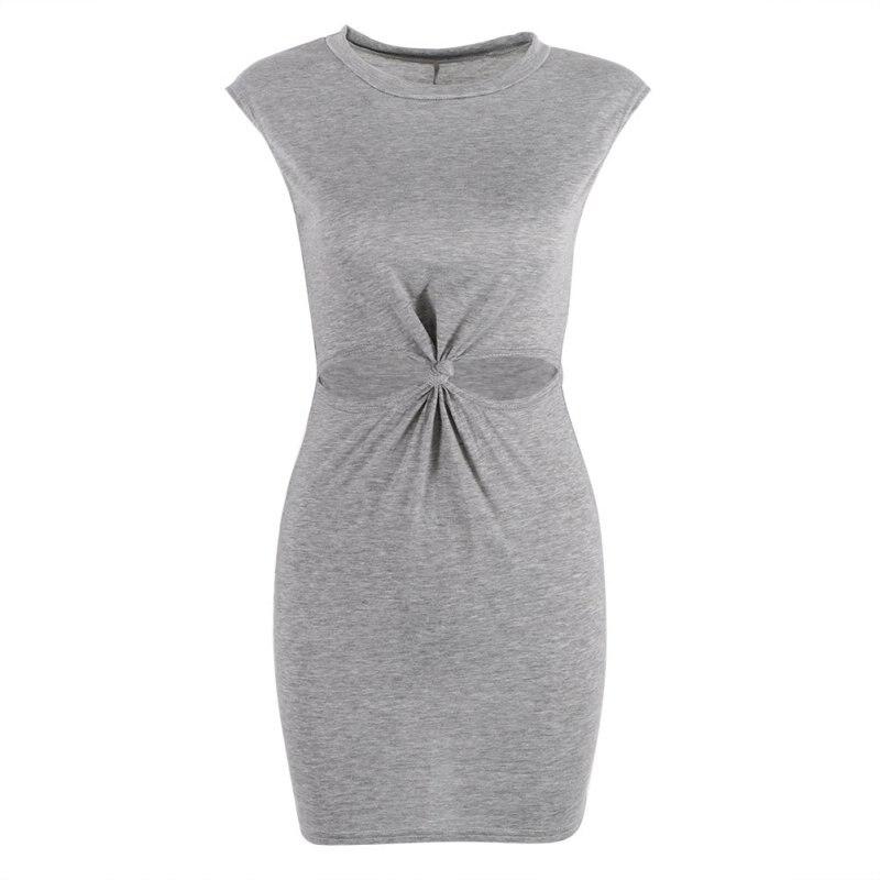 Vestidos Solid Party Dresses Large Size DressWomen Sundress Mini Dress O-Neck Short Sleeve Front Knot Summer Beach Mini Dress ...