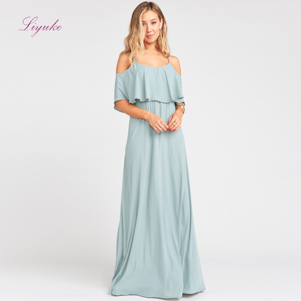 Liyuke A line   Bridesmaid     Dress   Long   Dress   Spaghetti Straps Chiffon Ruffles Customized Free Shipping