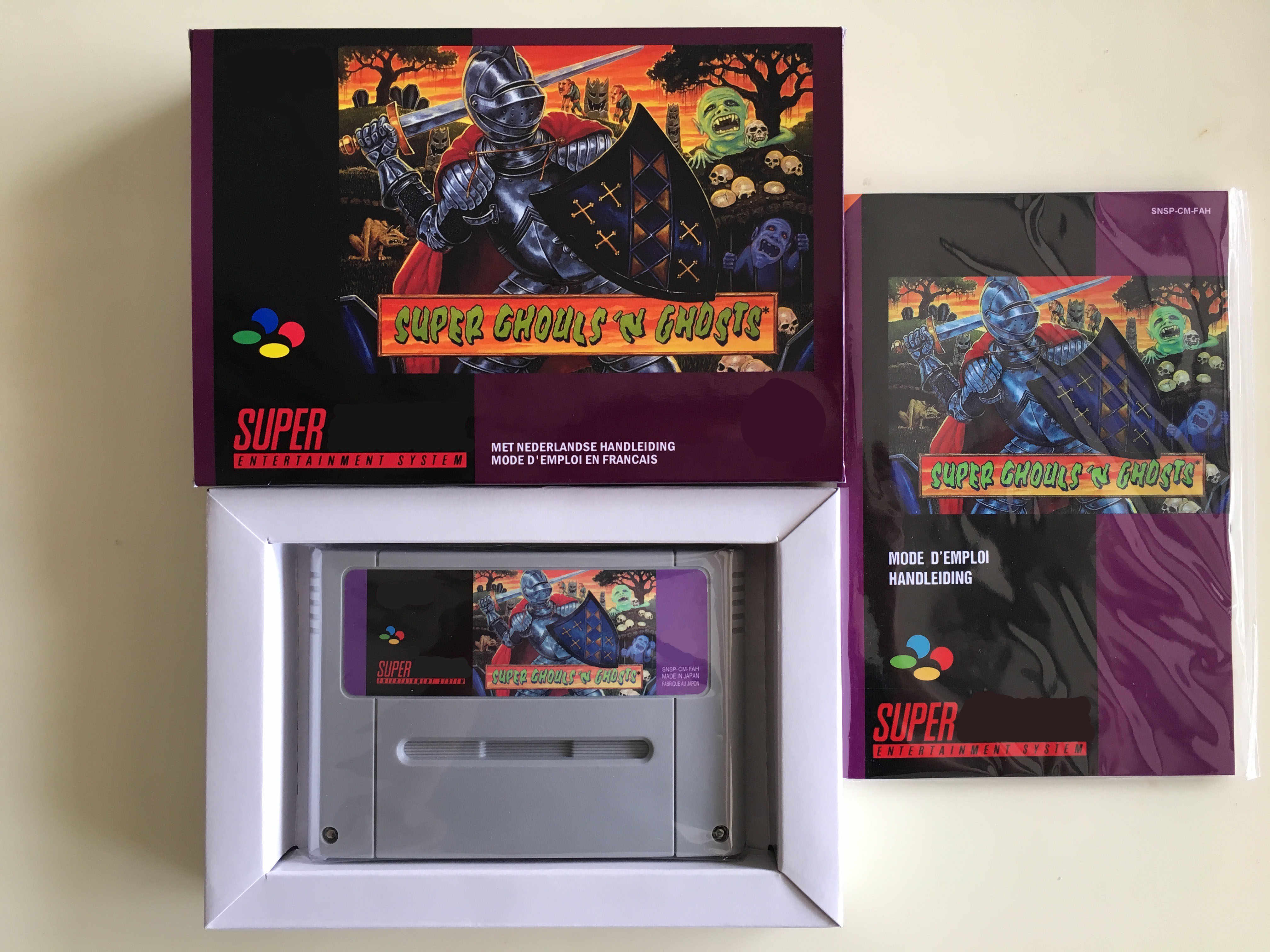 16Bit ** Super Ghouls'n Hantu (Bahasa Perancis Pal Versi!! Box + Manual + Cartridge!!)
