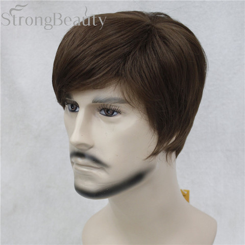 StrongBeauty Synthetic Straight Hair Boy Short Side Part Black/Brown Cosplay Men/Women Wigs Lahore