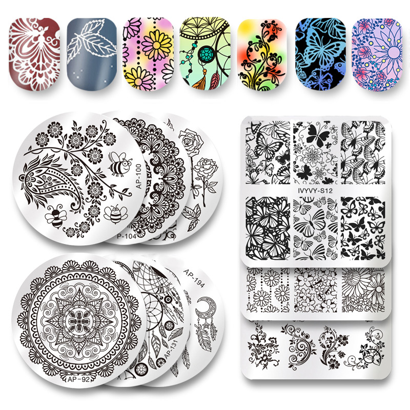 Pandox Square Round Nail Art Stamp Template Flower Mandala Butterfly Image Plate Nail Stamping Plate Manicure Tools