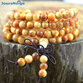 Natural Indonesia Agathis Alba Wood 108 Beads Bracelets 6-8mm Round Wood Prayer Beads Bracelet Multilayer Jewelry Accessories
