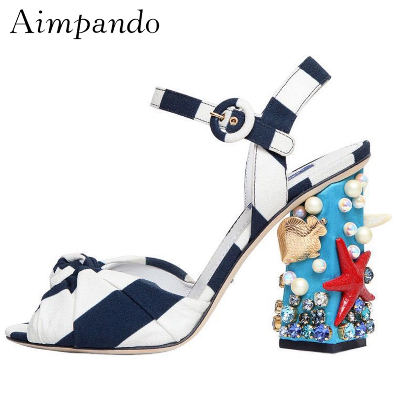 Novelty Starfish High Heel Sandals Ankle Strap Striped Open Toe Bowknot Chunky Heel With Shell Decor Beach Sandalias Mujer