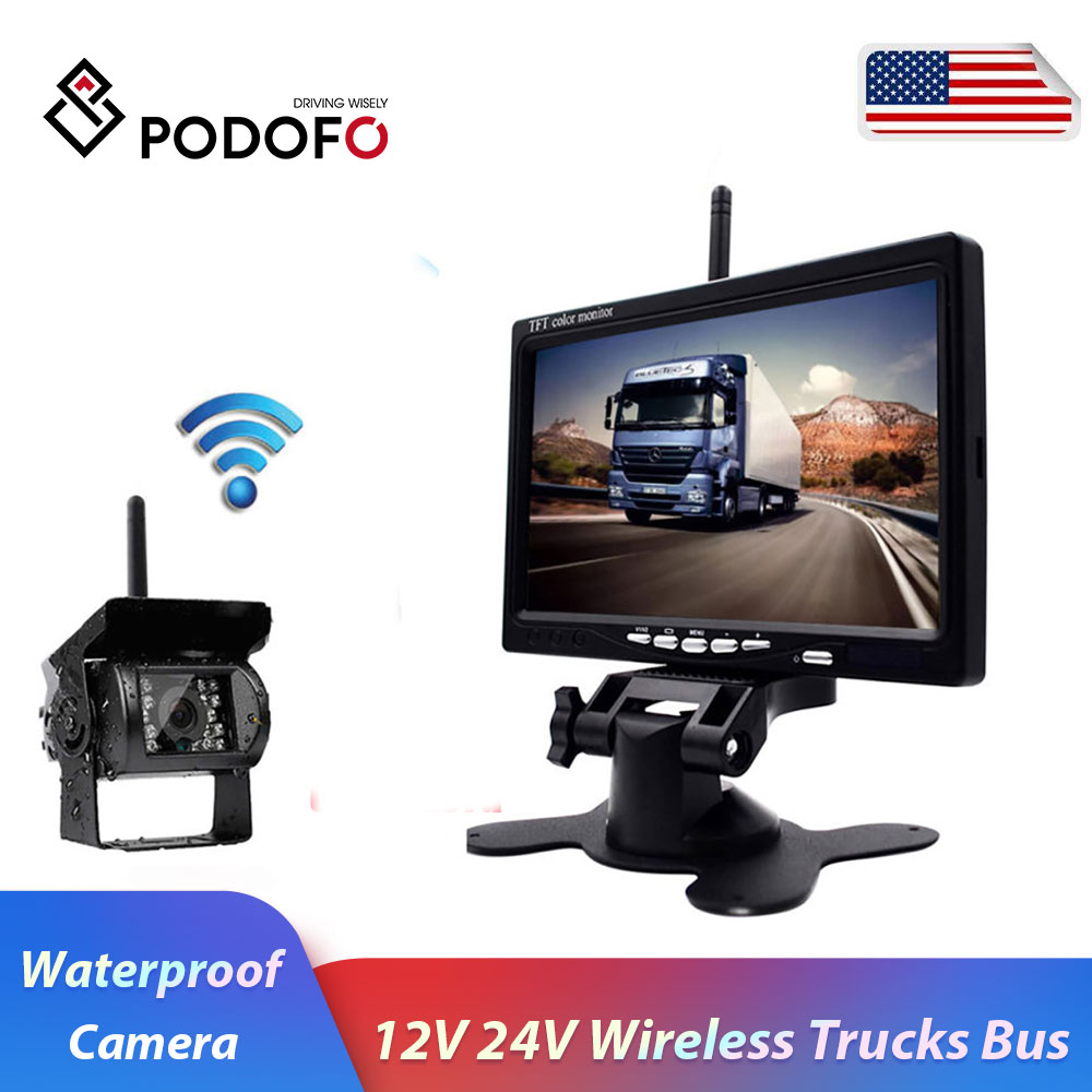 "Podofo 12V 24V Wireless 7"" HD TFT LCD Vehicle Backup Rear View Camera Monitor + Car Charger For Trucks Bus RV Trailer Excavator"