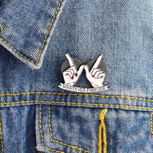 Miss Zoe WHATEVER FOREVER Heart in Hand Pin BFF Lover Brooch Button Pins Denim Jacket Pin Badge Cartoon Fashion Jewelry Gift(China)