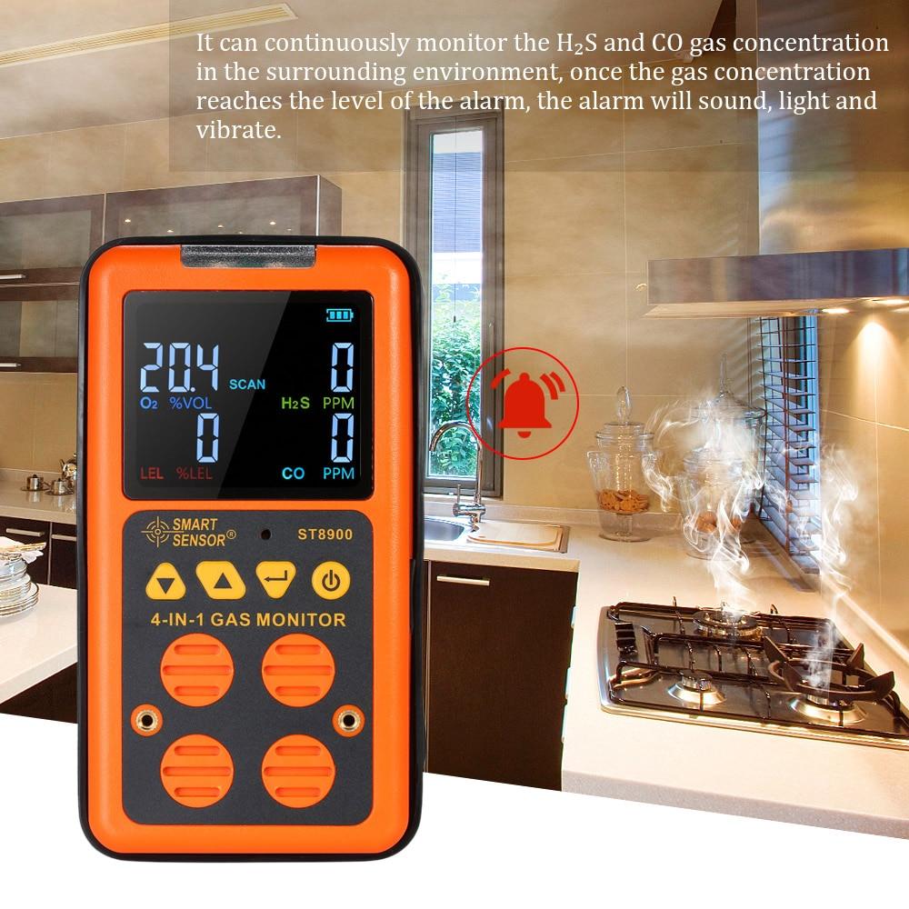 4 in 1 Digital Gas Detector O2 H2S CO LEL Monitor Gas Analyzer air quality Monitor