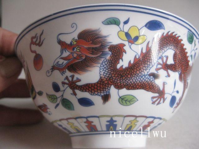 12fcb81690e05f Exquis Chinois Coloré Peint À La Main Dragon Porcelaine Bol avec Qing  Dynastie Marque