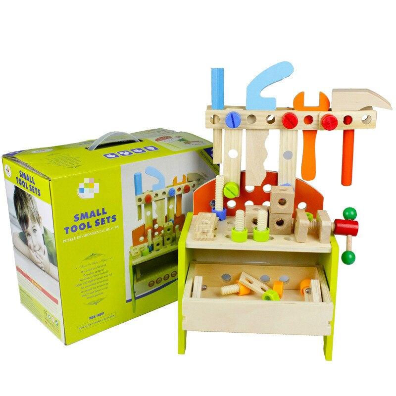 Boîte à outils multifonctionnelle en bois, boîte à outils de démontage de bébé, boîte à outils de réparation d'enfant, tenue de garçon de jouet